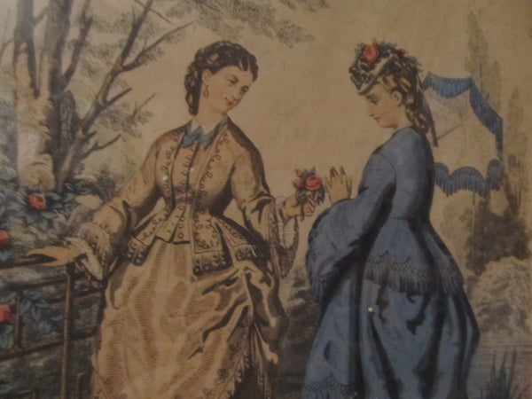 "La Mode Illustree, framed, ""Gift of Roses"" 1800's French Sewing Advertisement for Elegant Ladies Dresses"