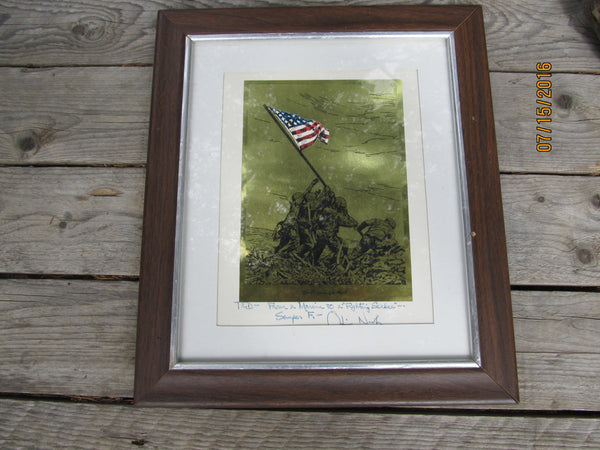 Oliver North SIGNED, USA Military Framed Wall Hanging, MANCAVE!!!