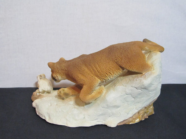 Puma, Bad Hare Day, Living Stone, Big Cat, Wild Cats, Statue, Home Decor, cat vs rabbit, man cave decor, gifts for men, hunting