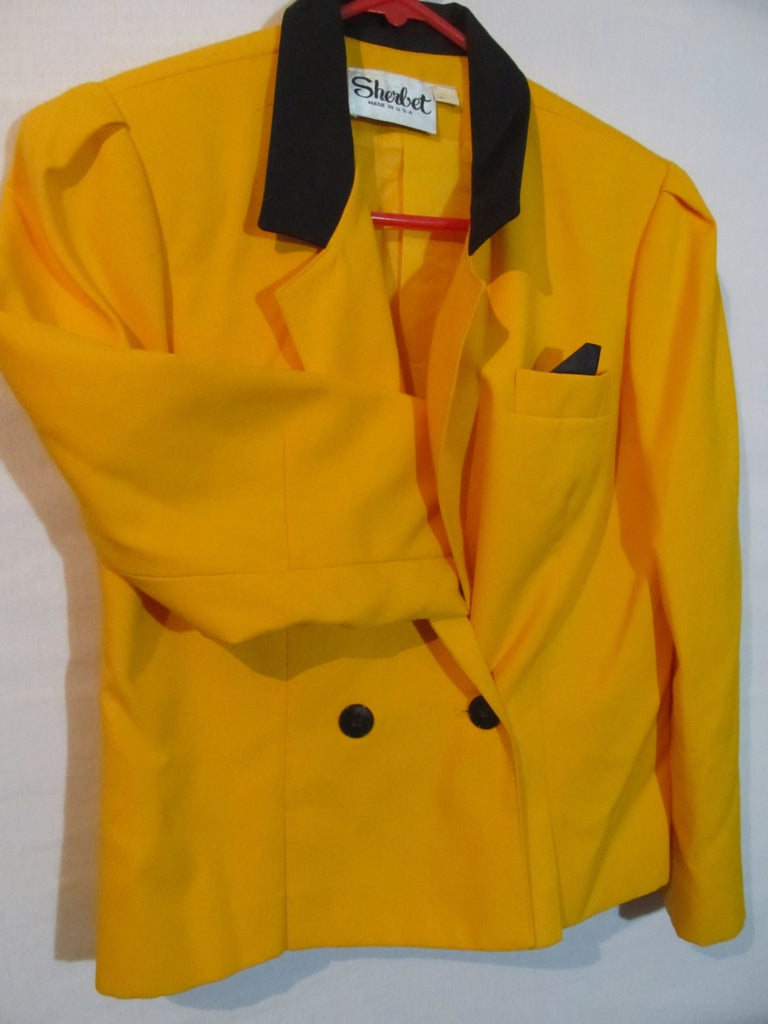 Sherbet, YELLOW Blazer, Jacket, Ladies, Women's, Bright Yellow, Vintage made in the USA, FREE Shipping, coat, work jacket, office uniform