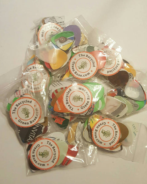 GUITAR PICKS 25+ per package, Upcycled - Reuse - Reduce - Repeat - with FREE Shipping!