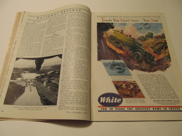 Time Magazine, September 1, 1941, Military, World War II, History, 1940's Classic Car Advertisements, Paper Ephemera, Memories, FREEshipping
