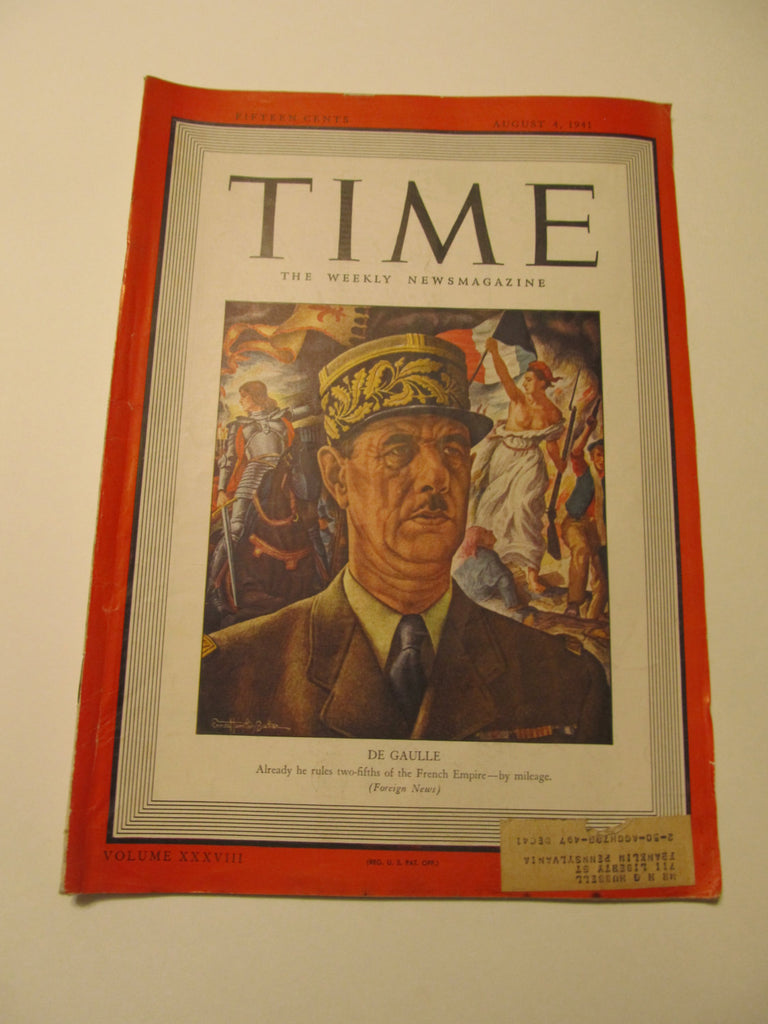 Time Magazine, August 4, 1941, Military, World War II, History, 1940's Classic Car Advertisements, Paper Ephemera, Memories, FREEshipping