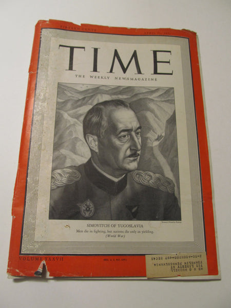 Time Magazine, April 21, 1941, Military, World War II, History, 1940's Classic Car Advertisements, Paper Ephemera, Memories, FREEshipping