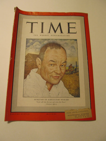 Time Magazine, July 21, 1941, Military, World War II, History, 1940's Classic Car Advertisements, Paper Ephemera, Memories, FREEshipping