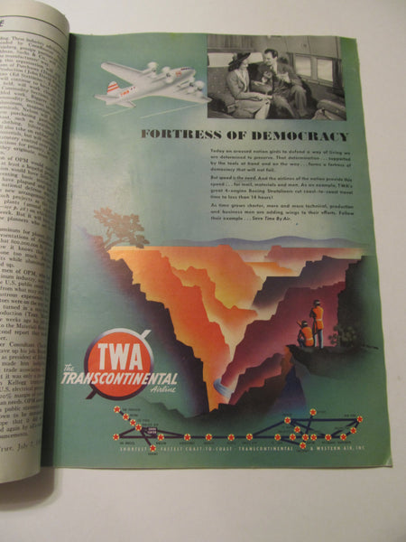 Time Magazine, July 7, 1941, Military, World War II, History, 1940's Classic Car Advertisements, Paper Ephemera, Memories, FREEshipping