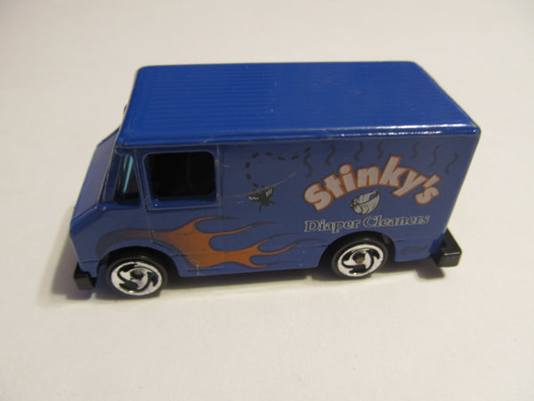 Stinky's Diaper Cleaners, Blue Service Van, Hot Wheels, diecast, model cars, classic cars, vintage toys, collectibles, 1:73 scale
