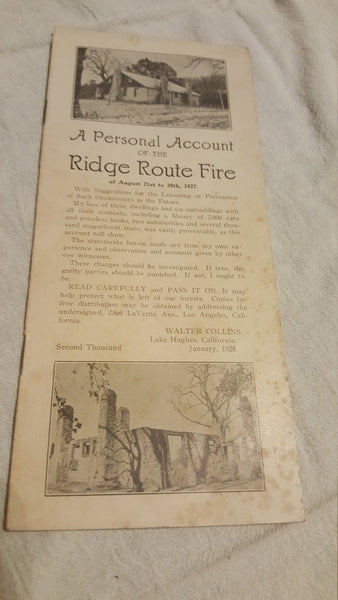 RARE, a personal account of the Ridge Route Fires, California 1927