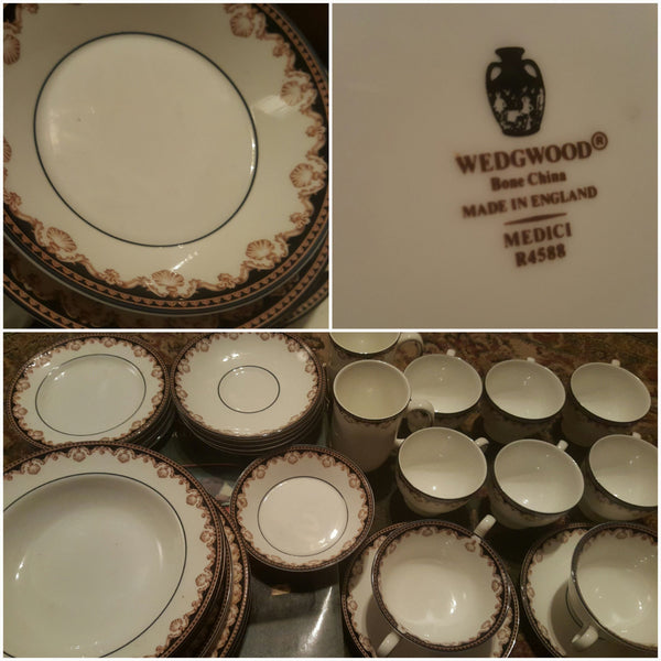 Wedgewood, Fine Bone China, Medici R4588, dishes set, 35 pieces, Replacement dishes, FREE SHIPPING