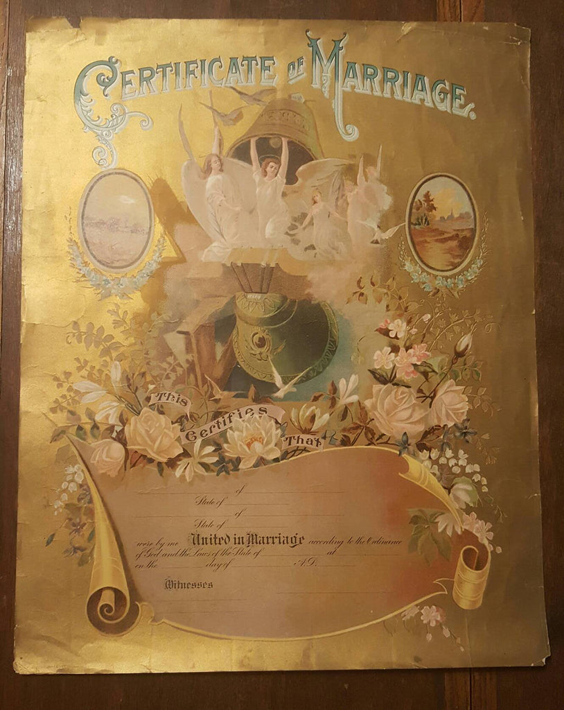 1901 Certificate of Marriage print, large poster, Wedding Gifts, Wedding Decor, Family Tree, Antique Poster, FREE Shipping