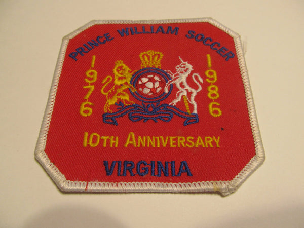 PWC Soccer Patch, 10th Anniversary, VIRGINIA, Prince William County, 1976-1986