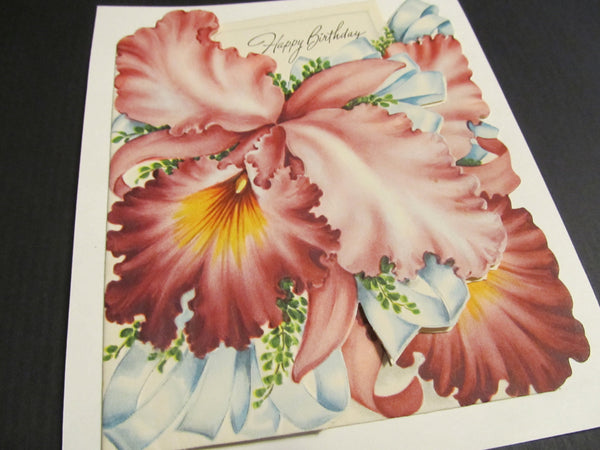 Happy Birthday, Floral, Flowers, Bday, Greeting Card, Save a Tree, Buy Vintage Cards! Card for her, beautiful cards, upcycled, FREE SHIPPING