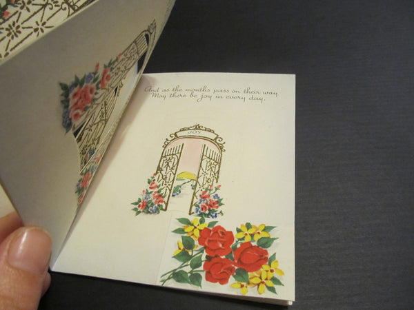 Your Birthday Gateway, Happiness, Pleasure, Joy, gates, gold trimmed, pink roses, vintage, BOOK Greeting Card, FREE SHIPPING