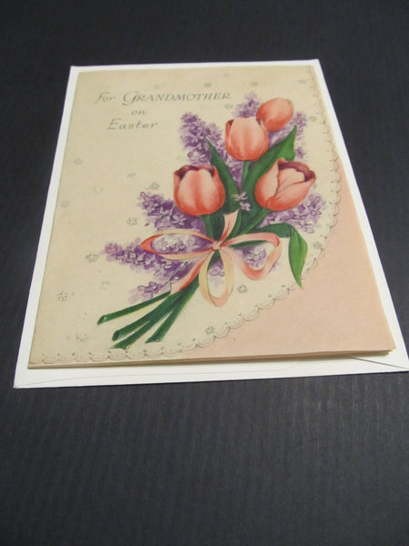 For GRANDMOTHERS on Easter, Tulip Flowers, Lavander, Bouquet, Floral cards, save a tree, buy vintage, Hallmark, Greeting Card, FREE SHIPPING