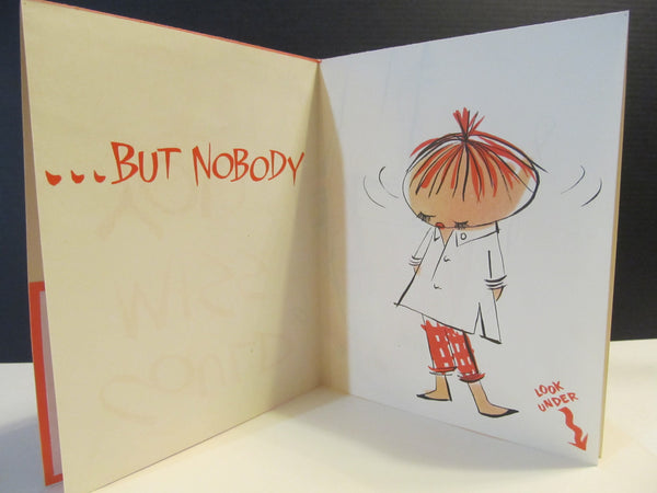 Miss You? cartoon get well card, large card, odd cards, MISSING You, vintage card, Greeting Card, Norcross, for her, nobody, FREE SHIPPING