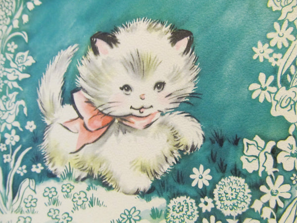 Hope you Feel better Soon! white fluffy cat, kitten, cards with animals, Get Well! Hope your better! vintage Greeting Card, FREE SHIPPING