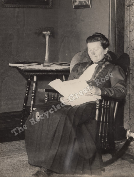 Lady in Rocking Chair, Reading Newspaper, Antique Photography, digital copy