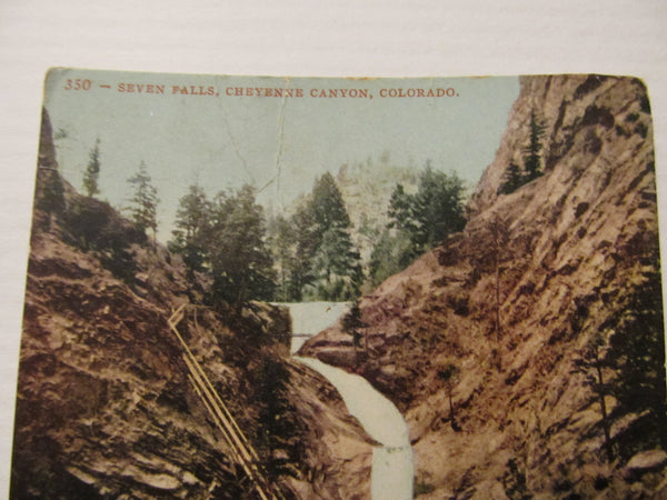 Edward H Mitchell, Seven Falls, Cheyenne Canyon, Colorado Postcard, FREE SHIPPING