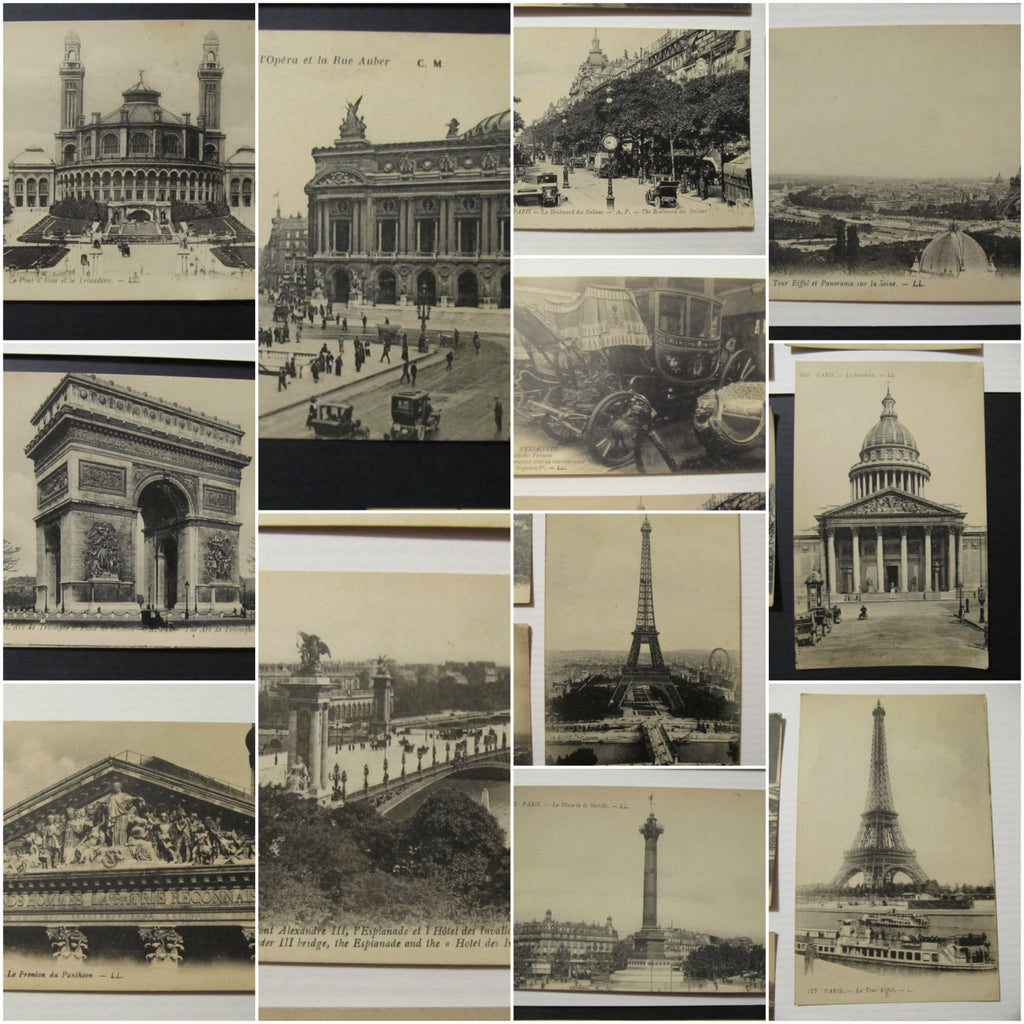 12 Paris France Poste Cartes, Levy Fils & Co, Paris France Postcards, unused, early 1900's, RPPC, FREE SHIPPING