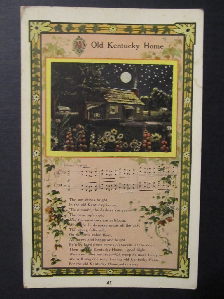 Old Kentucky Home, Song Postcard, FREE SHIPPING