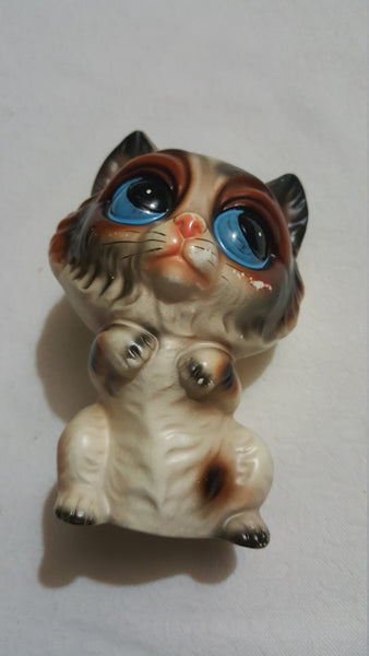 BIG EYED Cat, ceramic knicknack, figurine, Norleans, Japan, Cat Decor, FREE Shipping