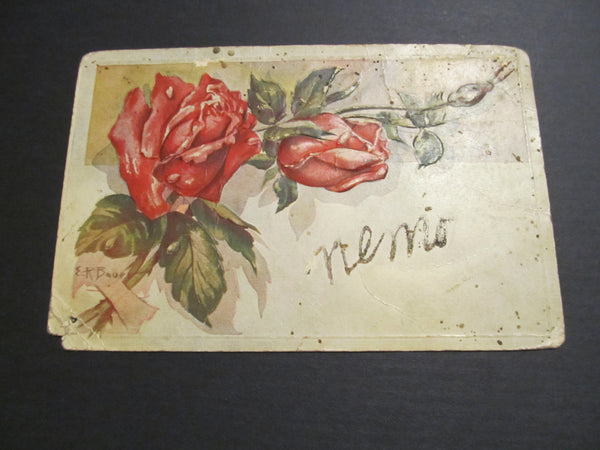 Embossed Roses Postcard, FREE SHIPPING Nemo!