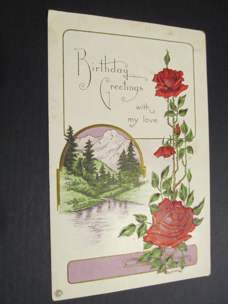 Birthday Greetings with my Love, Embossed Red Roses Postcard, FREE SHIPPING