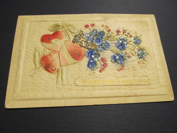 EMBELLISHED Valentine's Day Embossed Postcard, FREE SHIPPING, Valentine Greetings