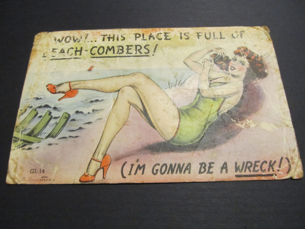 Gorgeous Pinup Lady, on the Beach, REDHEAD Postcard, FREE SHIPPING
