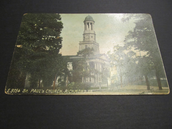 St Pauls Church, Richmond, Va vintage Postcard, FREE SHIPPING