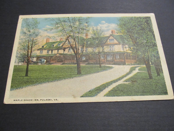 Maple Shade Inn, Pulaski, Va vintage Postcard, FREE SHIPPING
