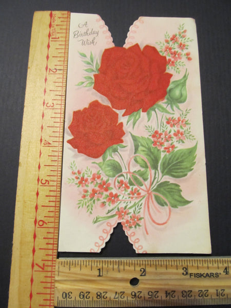 A Birthday Wish, Red Roses, Greeting Card, FREE SHIPPING