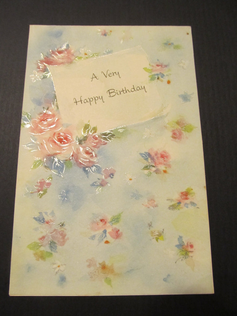 A Very Happy Birthday, Rose Floral Greeting Card, FREE SHIPPING