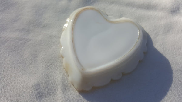 Hot Milk White Glass, purple floral painting, heart shaped dish, FREE Shipping