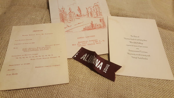 ALUMNA 1932 Ribbon, with Meredith Auumnae, program, invitation,