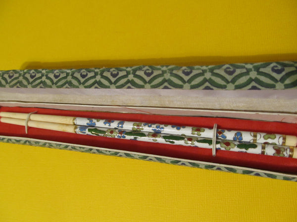 Vintage Cloisonné Chopsticks, Floral pattern, in original linen lined box, FREE SHIPPING
