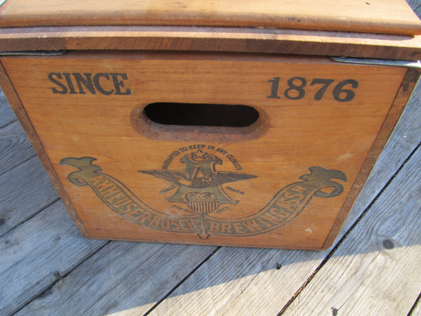 Budweiser Crate, wooden box, with attached lid, St Louis Lager Beer, Anheuser Busch Inc, St Louis Mo, Centennial edition 1976, Free Shipping