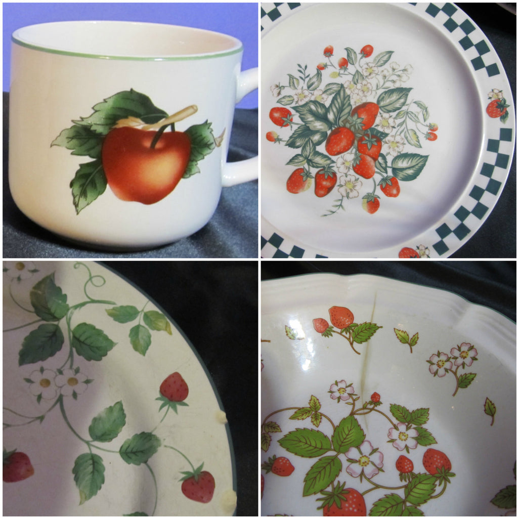 Gibson Designs, The Cades Cove Collection, Citation, Replacements, serving, dishes, set of dishes, strawberry pattern, strawberries