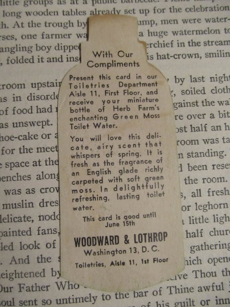 Paper Advertisement, Green Moss Toilet Water, the Herb Farm Shop, Woodward and Lothrop, Washington DC, paper, department stores