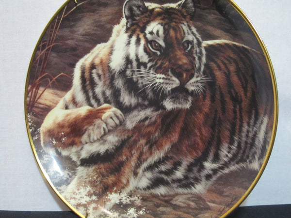 National Wildlife Federation, Limited Edition, Fine Porcelain, The Franklin Mint, Decorative Plate, by Skirka, Pure Power, Tiger, Big Cat