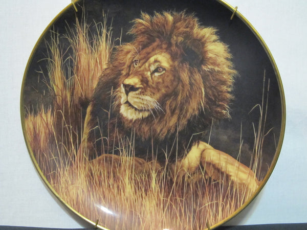 National Wildlife Federation, Limited Edition, Fine Porcelain, The Franklin Mint, Decorative Plate, by Skirka, Lion, King of the Jungle,