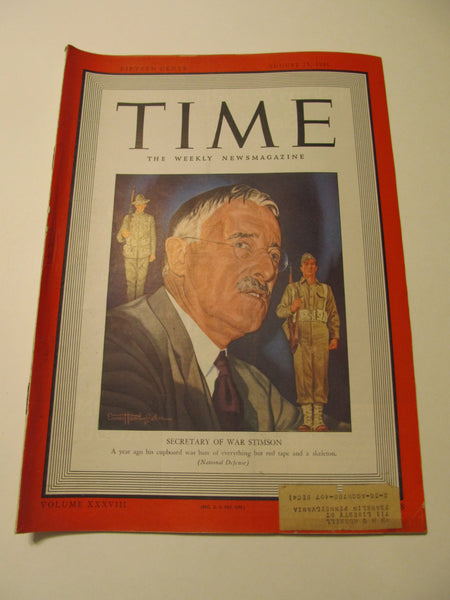Time Magazine, August 25, 1941, Military, World War II, History, 1940's Classic Car Advertisements, Paper Ephemera, Memories, FREEshipping