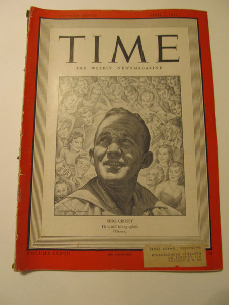 Time Magazine, April 7, 1941, Military, World War II, History, 1940's Classic Car Advertisements, Paper Ephemera, Memories, FREEshipping
