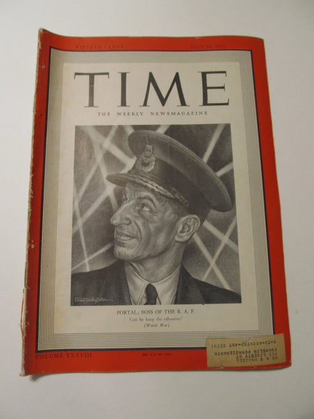 Time Magazine, July 28, 1941, Military, World War II, History, 1940's Classic Car Advertisements, Paper Ephemera, Memories, FREEshipping