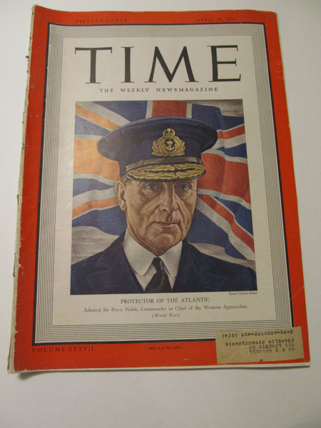 Time Magazine, April 28, 1941, Military, World War II, History, 1940's Classic Car Advertisements, Paper Ephemera, Memories, FREEshipping