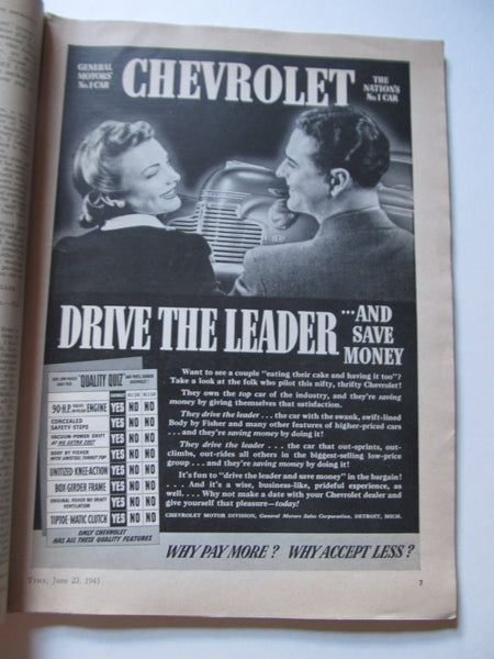 Time Magazine, June 23, 1941. WWII, Military History, Newsmagazine, 1940's Chevorlet Advertisements