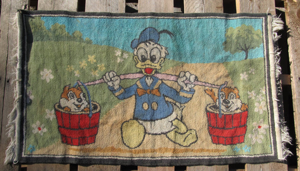 Donald Duck, Chip n Dale, Tapestry, Throw Carpet, Wall Decor, vintage Disney, cartoon characters, 1950's, free shipping