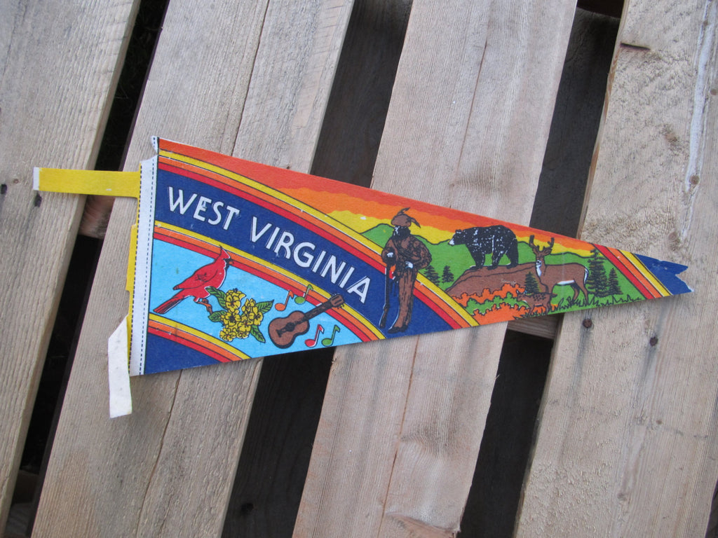 West Virigina, State Pennant, Souvenirs, Pennents, Pennants, Travel Collectibles, FREE shipping