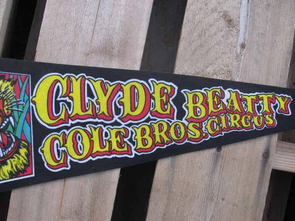 Clyde Beatty Cole Bros Circus, Pennant, Souvenirs, Pennents, Pennants, Travel Collectibles, FREE shipping