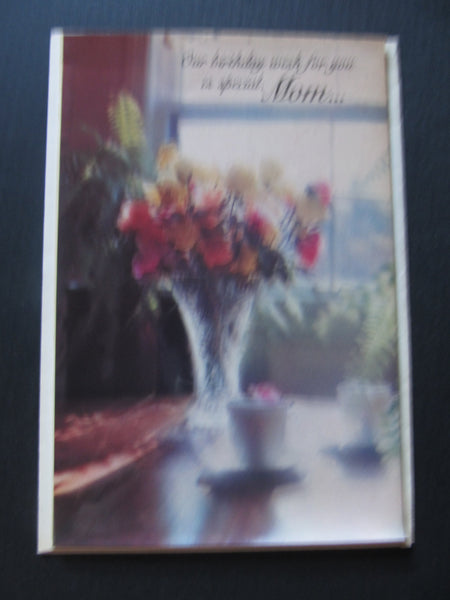 Happy Birthday Mom! vintage shiny card, for mom's bday, Mother, roses, with envelope, American Greetings, 1970s